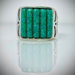 Sterling ring with green stone